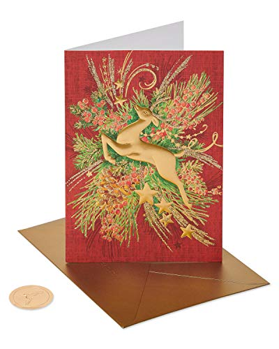 Papyrus Holiday Cards Boxed, Gold Reindeer Forest (12-Count) (Cards Unicef Birthday)