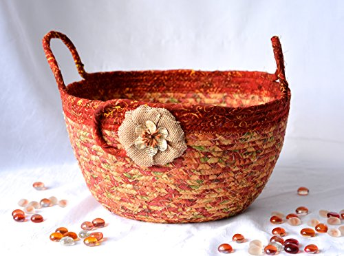 Tan Fabric Basket, Lovely Textile Art Bowl, Handmade Clothesline Rope Basket, Coiled Quilted Mail Key Holder Storage Organizer (Lines Wonderful Edge)