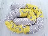 Handmade Gray and Yellow Cotton Fabrics Fox Animals Bed Pillow Baby Crib Bumper, Long Snake Pillow, Nursery Bedding, Nursery Decor