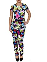 Love My Fashions Women's Floral Print Short Sleeve Jumpsuit With Belt Floral