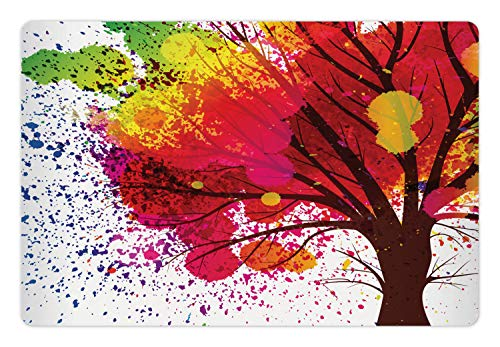 (Lunarable Colorful Tree Pet Mat for Food and Water, Spring Season Blossom Theme with a Tree Trunk and Rainbow Watercolor Splashes, Rectangle Non-Slip Rubber Mat for Dogs and Cats, Multicolor)