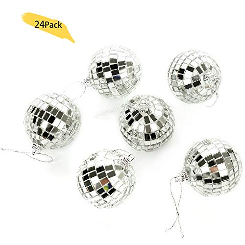 Bright Reflective Mirror Disco Balls | 24 Pack 2 Christmas Balls Ornaments Xmas Tree Hanging Balls Pendants for Holiday Wedding Party Dance and Music Festivals Decoration