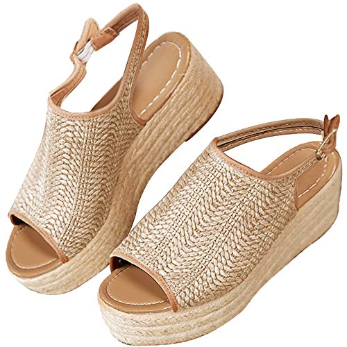 XMWEALTHY Women's Espadrilles Sandals Shoes Fashion Peep Toe Platform Wedge Ankle Strap Slingback Sandals Size 8.5 Beige