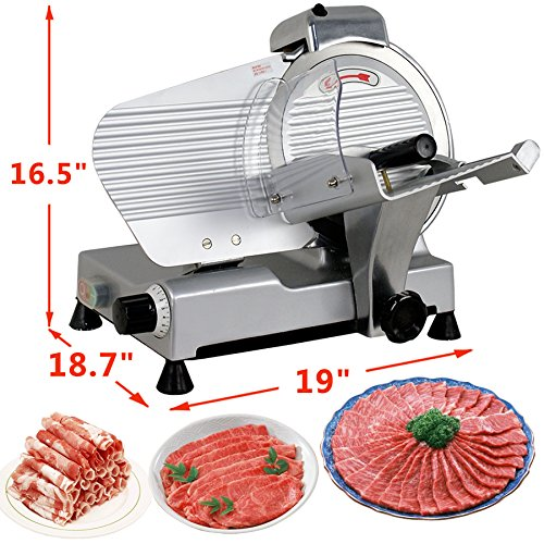 Super Deal Commercial Stainless Steel 10'' Semi-Auto Meat Slicer, Cheese Food Electric Deli Slicer Veggies Cutter (Semi-Auto 10inch)