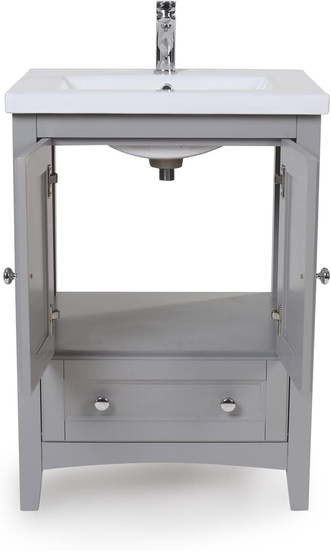 Elegant Decor VF-2002 Single Bathroom Vanity Set, 24 , Medium Grey VF-2002
