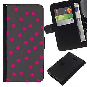 All Phone Most Case / Oferta Especial Cáscara Funda de cuero Monedero Cubierta de proteccion Caso / Wallet Case for Sony Xperia M2 // Pink Polka Dot Pattern Grey