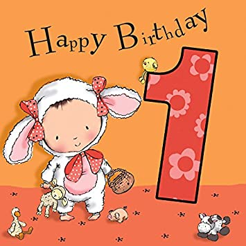 Twizler 1st Birthday Card For Girl With Cute Lamb Cut Out One