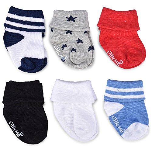 Little Me Baby Boys' 18 Pack Socks with Turn Cuff, Multi, Newborn 0-6 Months
