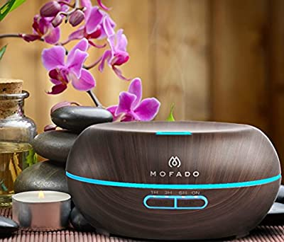 Essential Oil Diffuser - Ultrasonic Aromatherapy Humidifier - Bonus Essential Oil eBook - Auto Shut Off - Dark Faux Wood - 7 LED Mood Lights