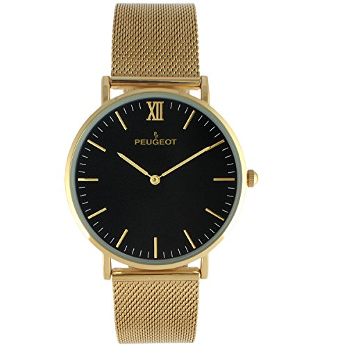 Peugeot 14K Gold Plated Slim Watch Black Dial Mesh -