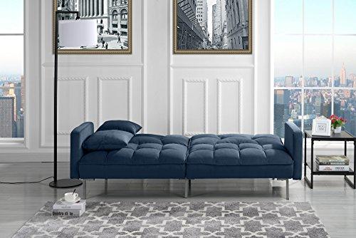Modern Plush Tufted Velvet Splitback Living Room Futon (Navy)