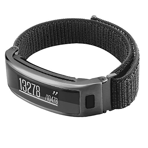 C2D JOY Sport Loop Works with Garmin vivosmart HR Replacement Bands Activity Tracker Watch Band with Metal Steel Case - Black, Small Fits 5.0-7.0in. Wrists