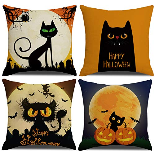 MENGT Halloween Black Cat Decorative Pillow Covers Set of 4 Cushion Cover Pillow Case for Car Sofa Bed Couch 18 x 18 Inch 45 x 45 cm …