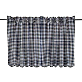 Cheap VHC Brands Classic Country Rustic & Lodge Kitchen Window Curtains-Jenson Blue Scalloped Tier Pair, L36 x W36