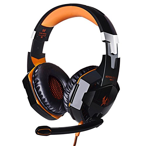 51zGreb2oUL - JinSun G2000 Gaming Headset Headphone Stereo Over-ear Game Bass Headset Headband Earphone with Mic and LED Light for PS4 Laptop PC Tablet Smartphones