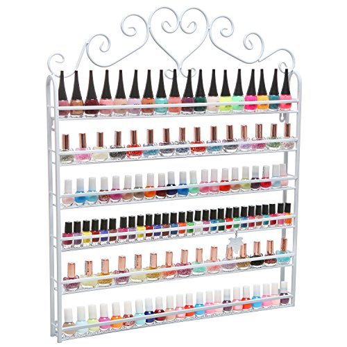 Professional White Metal Nail Polish Mountable 6 Tier Organizer Display Rack - MyGift