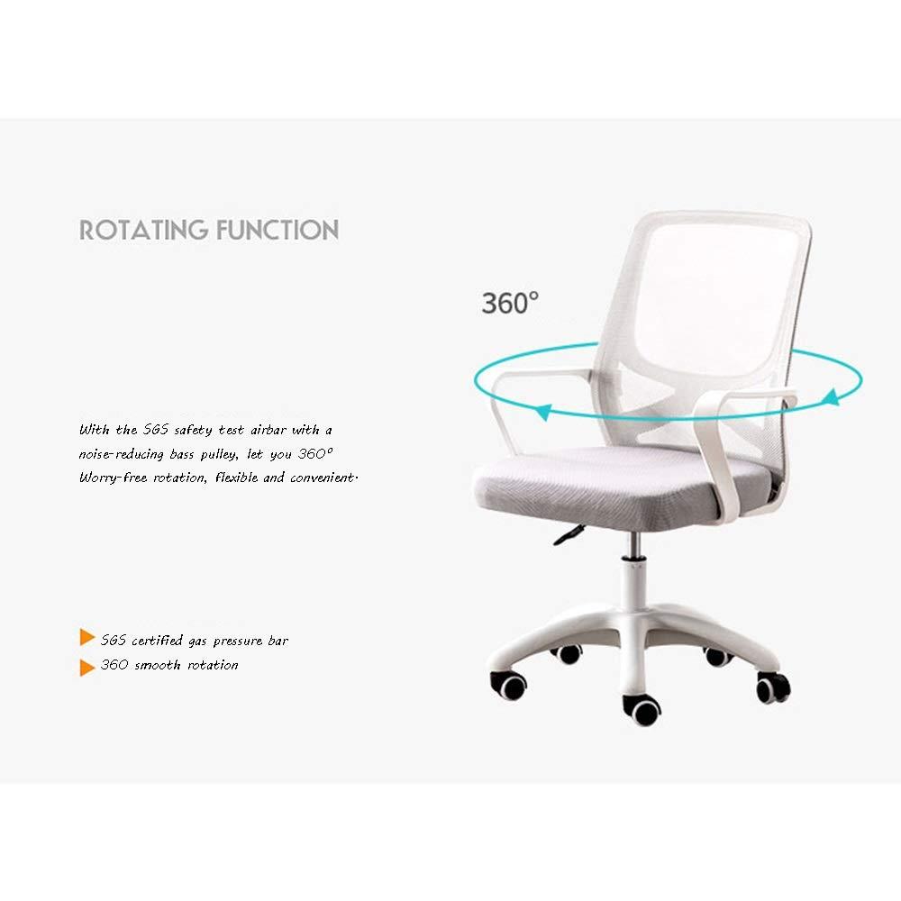 Kontorsstol, verkställande justerbar rullande svängbar stol fast korsstöd ergonomisk skrivbordsstol nät datorstol (färg: Blå) BLÅ