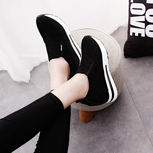Transer Ladies Leisure Hidden Heel Shoes, Women Work Loafers Lazy Shoes Black