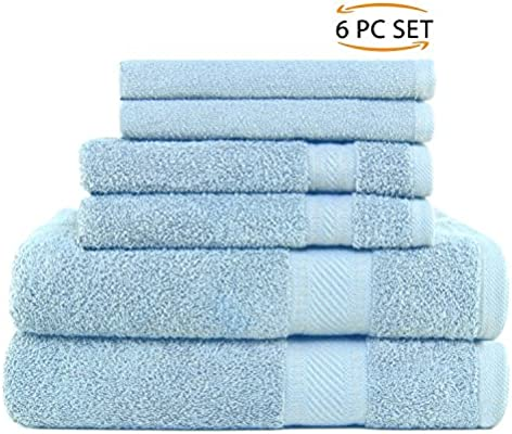 SweetNeedle - Uso diario Juego de toallas de 6 piezas, Azul Claro - 2 toallas de baño 70x140 CM, 2 toallas de mano 50x90 CM, 2 paño de lavado 30x30 CM ...