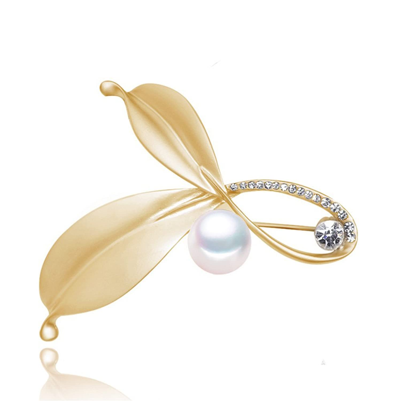 Handmade Women Elegant Gold Leaf Freshwater Cultured White Pearl Brooch