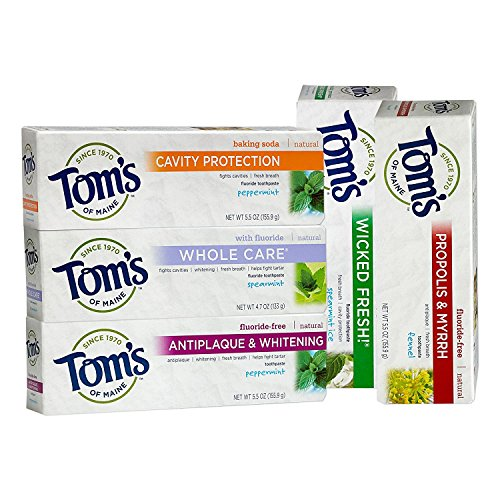 Tom's of Maine Toothpaste Variety Pack of 5 - Wicked Fresh Spearmint Ice, Cavity Protection Peppermint, Whole Care Spearmint, Antiplaque & Whitening Peppermint, Propolis & Myrrh ()
