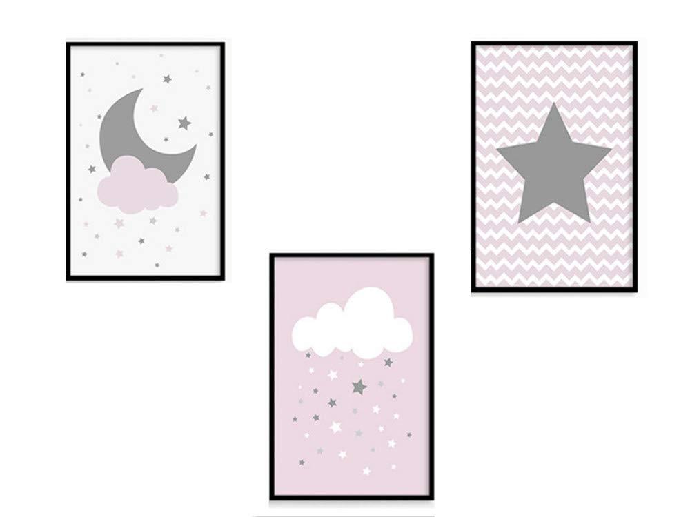 30 * 40cm 3er Set Poster Kinderzimmer Deko,TROYSINC Dekoration Kinderzimmer Sterne, Mond, Wolken Wandbilder Junge M/ädchen Baby