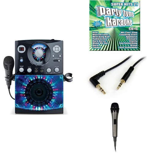 The Singing Machine SML-385W Disco Light Karaoke System (Black) with Karaoke Party CD Pack, 3.5mm Stereo Adapter Bundle, and Extra Microphone