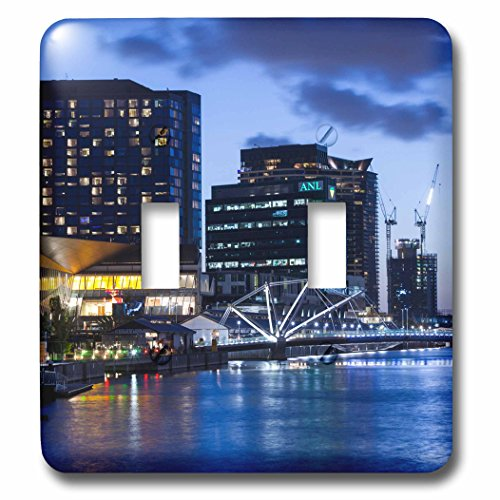 Danita Delimont - Australia - Australia, Melbourne, South Wharf, Bridge over the Yarra River, dusk - Light Switch Covers - double toggle switch - Melbourne Wharf