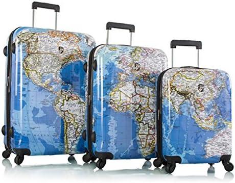"Heys Explore Map Hard Side Spinner Luggage 3pc. Set - 21"", 26"" & 30"""