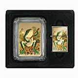Perfection In Style Glass Ashtray Oil Lighter Gift Set Vintage Frogs Design 001