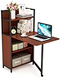 Tribesigns Folding Computer Desk with Bookshelves, PC Laptop Study Writing Desk with Storage Shelves for Small Space
