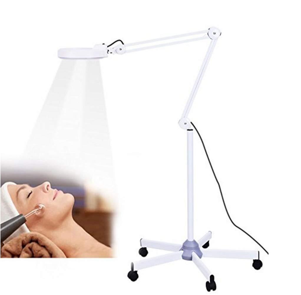 Lupe LED Light 5X Magnifier Floor LED-Lampe Rolling Floor Stand Beauty Maniküre Tattoo Hautpflege Geräte Weiß MZP