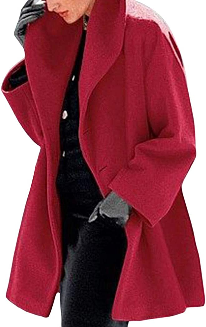 CURT SHARIAH Womens Trench Pea Coat Loose Trench Coat Jacket Overcoat Outwear Ladies Long Sleeves Cardigan