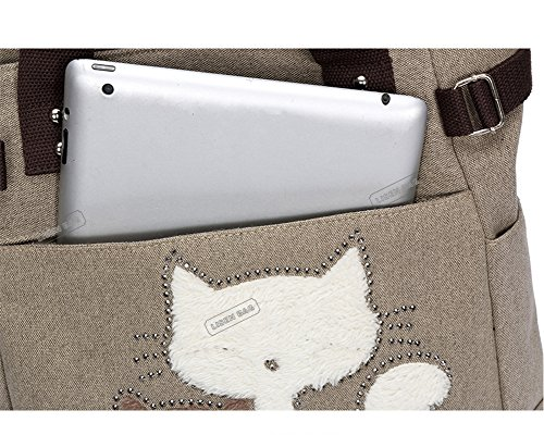 and Laptop Bag Shoulder Black for Gray Messenger College Women Medium Satchel University Girls Strap Case Canvas Khaki qvTfUf