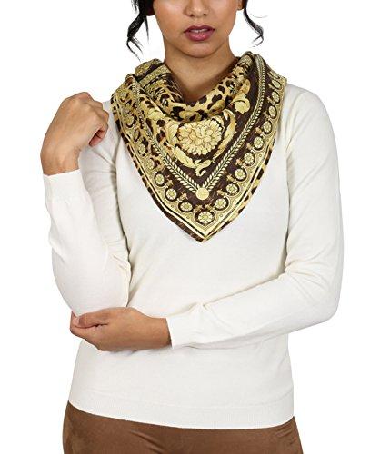 Versace Brown/Gold Leo Print Silk Foulard (Cashmere Silk Knit Tie)