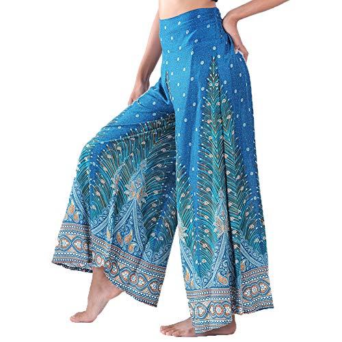 Lofbaz Women's Wide Leg Palazzo Pants Yoga Lounge Hippie Harem Flowy Trousers Lightweight Fall Plus Ladies Pajamas Sleepwear Aladdin Gypsy - Peacock 1 Teal Green - XL