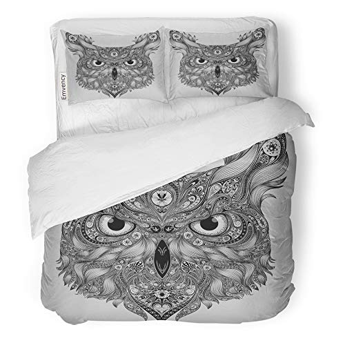 Emvency Decor Duvet Cover Set Full/Queen Size Coloring Abstract Owl Patterns Flying Hand Head Drawn Page Sketch Tribal 3 Piece Brushed Microfiber Fabric Print Bedding Set Cover]()