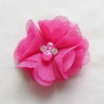 Appliques Wedding Decor Bulk Lots Multi-color Chenkou Craft Pack of 12pcs Chiffon Flowers Ribbon Bows W//Beads 2-3//8 60mm