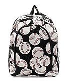Baseball Print Canvas Lightweight Backpack Handbag