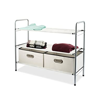 Sagler Closet Organizer - Portable Closet Systems - Closet Shelving Includes 2 Fabric colapsable Bins - Multi-Purpose Closet Storage