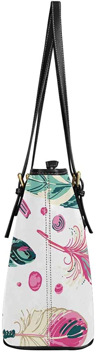 INTERESTPRINT Right Colored Feathers and Beads Top Handle Satchel HandBags Shoulder Bags Tote Bags Purse