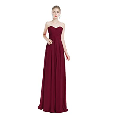 Bridesmaid Sweetheart Strapless Chiffon Wedding Prom Dress Women A-line Long Evening Party Cocktail Dress