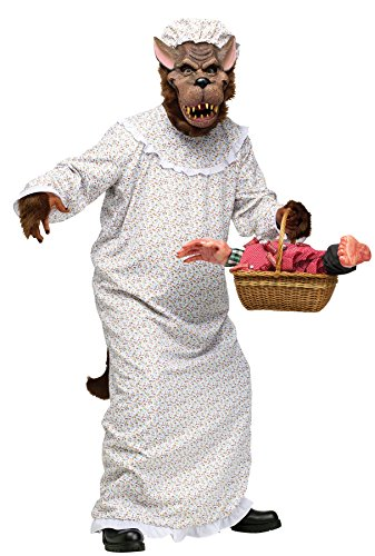 UHC Unisex Plush Big Bad Granny Wolf Comical Theme Party Adult Halloween Costume, OS