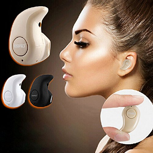 Newest Smallest Wireless Invisible Bluetooth Mini Earphone Earbud Headset Headphone Support Hands-free Calling For iPhone Samsung Xiaomi Sony Lenovo HTC LG and Most Smartphone. (Coffe)