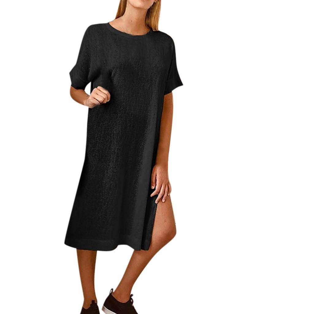 Womens Summer Loose Dresses Casual Plain Side Split Solid Short Sleeve Maxi Dress (Black, XL)