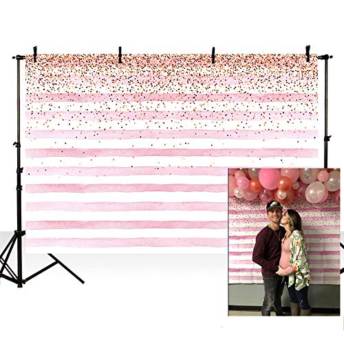 MEHOFOTO Photography Backdrops Pink Stripe Gold Sequins Baby Birthday Party Christmas Decoration Photo Studio Booth Background 7X5ft