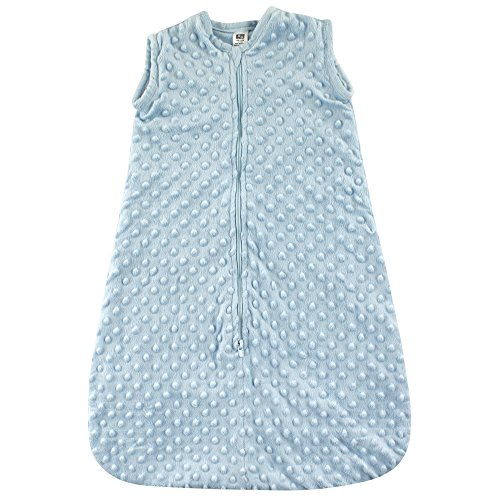 Hudson Baby Safe Sleep Wearable Dotted Mink Plush Sleeping Bag, Blue Dotted, 0-6 Months