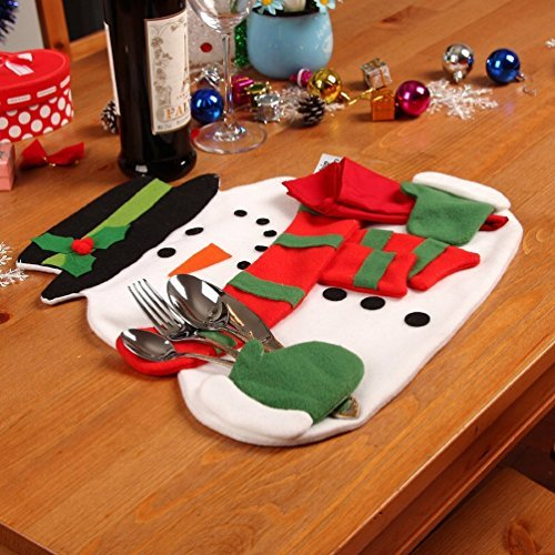 zerowin christmas snowmen place mats and red napkins novelty decor silverware holder cover placemat puting - Christmas Placemats And Napkins