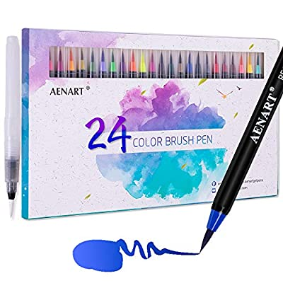 Aen Art Watercolor Brush Pens 24 Colors, Flexible Painting Art Markers Pen with Water Brushes for Calligraphy Sketching Coloring Drawing Hand Writing Lettering