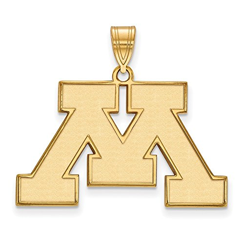 Jewelry Stores Network Minnesota Golden Gophers School Letter Logo Pendant Gold Plated Silver L - (19 mm x 30 mm) ()